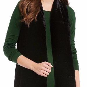 NWT EILEEN FISHER blk long quilted silk blend vest